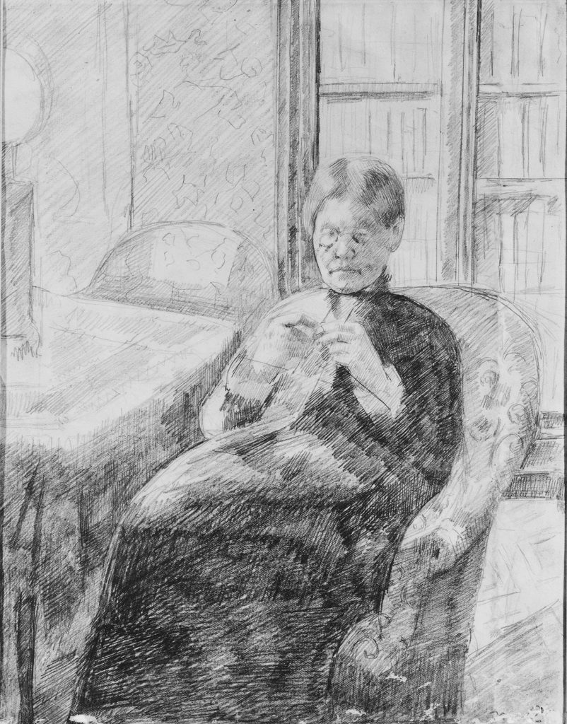 Mary Cassatt: Old woman knitting